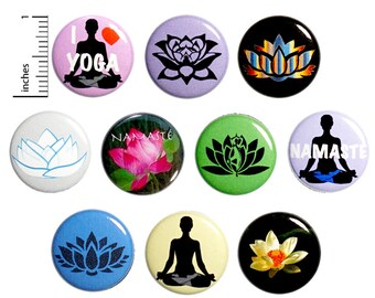 Yoga Pins (10 Pack) Buttons for Backpacks or Fridge Magnets, Yogi Gift Set, Lotus Flowers, 1 Inch 10P6-2