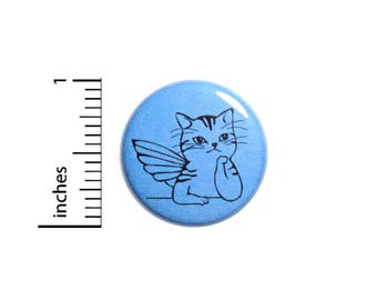 Fairy Wings Cat Kitty Cute Blue Button Pin Jacket Pinback 1 Inch Fun Gift #41-17