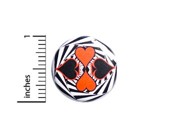Queen of Hearts Pin, Alice In Wonderland, Small Lapel Pin, Button Pin for Backpacks or Fridge Magnet, Red, Black, Cool Pin, 1 Inch 95-11