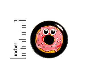 Funny Random Button Cartoon Pink Donut With Eyes Backpack Jacket Pin 1 Inch #45-8 -