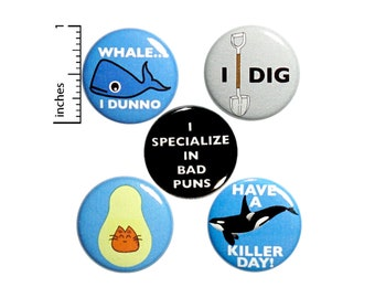 "Pun Button 5 Pack Backpack Pins 1"" P24-2"