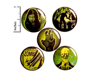 "Zombie Pins for Backpacks or Fridge Magnets, Buttons Pins for Jackets, Lapel Pins, Cool Badges, Green, Black, 5 Pack Gift Set 1"" P44-4"