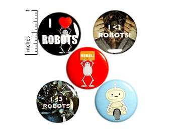 "Robot Buttons Cool I Love Robots Rebel Pins for Backpacks or Jackets Lapel Pins Badges 5 Pack Gift Set 1"" P35-1"