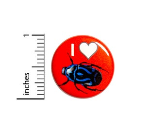 I Love Bugs Insects Funny Button Pinback Random Humor Backpack Pin 1 Inch 79-2