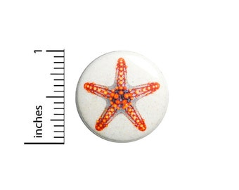"Starfish Pin Button or Fridge Magnet, Cute Beach Pin, Starfish Gift, Starfish Button, Beach, Button Pin or Magnet, Beach Gift, 1"" 87-6"