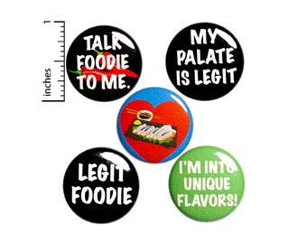 "Foodie 5 Pack Backpack Pins // Buttons // Sushi // Lapel Pins // Brooch // Talk Foodie To Me // Cute Pins // Foodie Gift Set  1"" #P18-3"