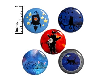"Cats In Space // Buttons or Fridge Magnets // Backpack Pins // Lapel Pins // Kitchen Magnets // Outer Space Gift Set // 5 Pack 1"" #P6-3"
