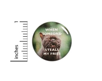 Funny Cat Button // French Fries // When Someone Steals My Fries // Backpack or Jacket Pinback // Sarcastic Grumpy // Pin 1 Inch 13-6