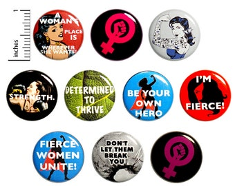 Feminist Pins (10 Pack) Buttons for Backpacks, Strong Women, Women's Rights, Positive, Encouraging, Gift Set 1 Inch 10P7-2