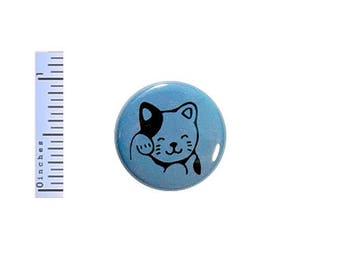 Lucky Cat Button Cute Cartoon Anime Cat Kitten Blue Gift Backpack Pin Pinback 1 Inch #24-7