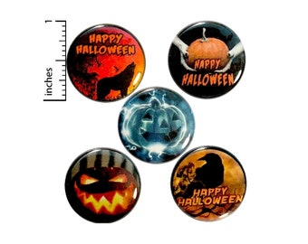 Happy Halloween Pins for Backpacks, Buttons or Fridge Magnets, Howling Wolf, Raven, Jack O' Lantern, Pumpkin, 5 Pack, Gift Set, 1 Inch P37-2