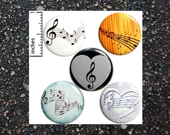 Music Buttons for Backpacks Pins Badges Pinbacks or Fridge Magnets Sheet Music Classical Notes 1 Inch 5 Pack Gift Set P28-4