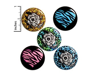 "Animal Print Buttons 5 Pack of Backpack Pins Vintage Style Leopard Zebra Rose Heart Gift Set 1"" #P14-2"