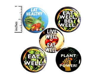 "Healthy Eater Gift Set of Buttons or Fridge Magnets, Healthy Eating, Healthy Eater, Nutritionist, Gift Set Button or Magnet 5 Pack, 1"" P24-4"