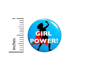 Girl Power! Superhero Super Chick Woman Girl In Cape Awesome Fun Gift 1 Inch #35-28 -