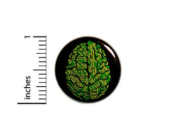 Geeky Nerdy Cool Computer Chip Motherboard Brain Jacket Backpack Pin 1 Inch #42-12