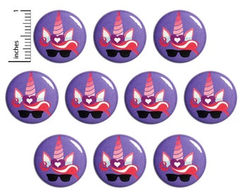 "Unicorn (10 Pack) Buttons Pins or Fridge Magnets, Cool Cute Buttons, Unicorns with Sunglasses, Party Favors 1"" 10PS72-27"