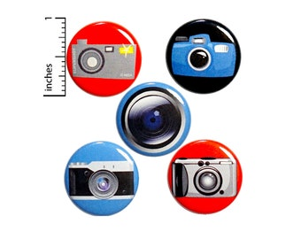 "Photography Button 5 Pack of Backpack Pins Cute Buttons Cool Badges Lapel Pins Bag Pins Vintage Cameras Photography Gift Set 1"" #P20-1"