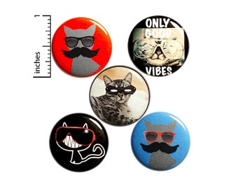 "Cats In Disguise, Mustaches, Sunglasses, Gift Set, Pin Button or Fridge Magnet 5 Pack, Pins for Backpacks, Cute Pin Set of 5, 1"" - P24-3"