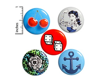 "Rockabilly Buttons or Fridge Magnets // 5 Pack // Backpack Pins // Jacket Lapel Pins // Badges // Rockabilly Brooches // Gift Set 1"" #P8-5"
