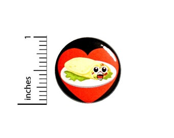 """Funny Burrito Pin Button or Fridge Magnet, Mexican Food Gift, Birthday Gift, Smiling Burrito Pin, Funny Pin or Magnet, Gift, 1"""" 89-18"""
