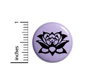 Lotus Button Pin Purple Black Pretty Rad Jacket Backpack Peace Love Pinback 1 Inch #54-26
