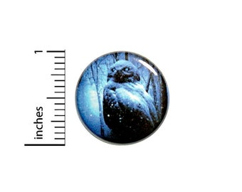Dark Owl Button // Goth Emo Ghostly Winter Pinback // Humor Geekery Nerdy Pin // 1 Inch 14-9