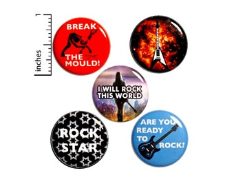 "Rock N Roll Pin Buttons or Fridge Magnets, Backpack Pins, Rock Star Pins, Rock N Roll Gifts, Pin Button or Magnet 5 Pack, Gift Set 1"" P4-5"
