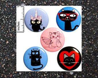 Cute Kitty Buttons Pins for Backpacks Jackets Lapel Pins 5 Pack Badges Pinbacks Brooches or Fridge Magnets Cute Gift Set 1 Inch P31-1