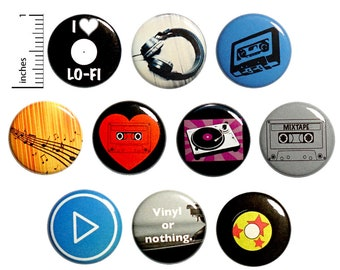 "Music Pins (10 Pack) Buttons for Backpacks or Fridge Magnets, Records, Cassette Tapes, Headphones, Music Notes, Gift Set 1"" 10P5-2"