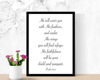 Bible Verse Printable Wall Art, He will cover you with His feathers, Psalm 91:4, Christian Art, Inspirational Quote Poster, Dorm Room Decor