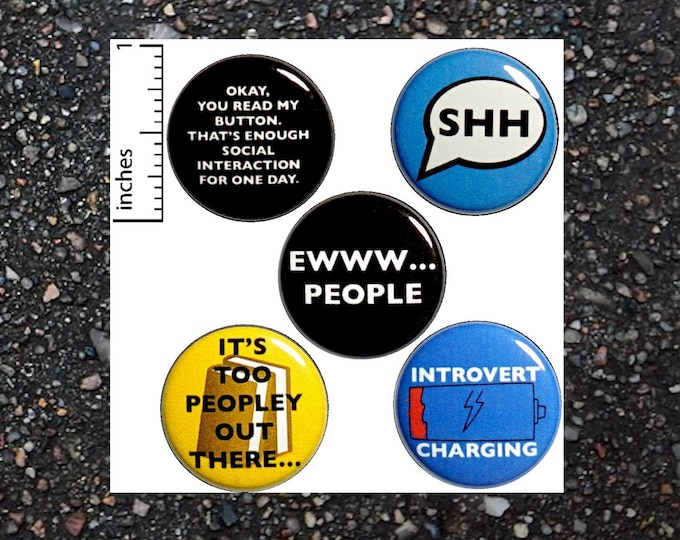 """Featured listing image: Introvert 5 Pack Buttons Funny Backpack Pins 1"""" P2-4"""