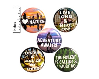 "Hiking Traveling Buttons 5 Pack of Backpack Pins Lapel Pins Cool Brooches Badges Adventurer Traveler Hiker Gifts 1"" P27-5"