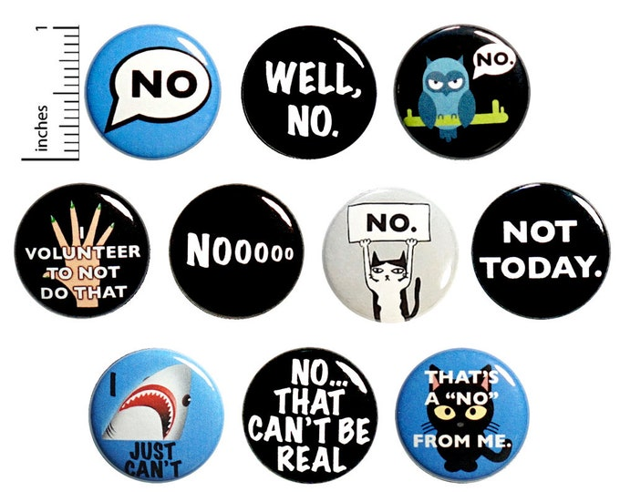 Featured listing image: Funny Sarcastic Buttons No Not Today I Just Can't Edgy Cool Pins for Backpacks or Jackets Lapel Pins Badges 10 Pack Gift Set 1 Inch 10P8-1