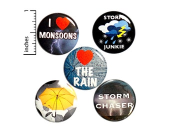 "Storm Chaser 5 Pack Buttons Backpack Pins Love The Rain I Love Monsoons Storm Junkie Yellow Umbrella Rad Cool Gift Set 1"" #P11-4"