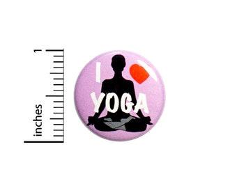 Yoga Button I Love Yoga Purple Backpack Yoga Bag Pin Pinback Namaste Peace and Love Calm Meditation 1 Inch #67-28