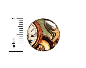 Whimsical Clock Button, Steampunk Pin, Dieselpunk Badge, Alice In Wonderland, Neo-Victorian, Vintage Style Pinback, 1 Inch 2-19