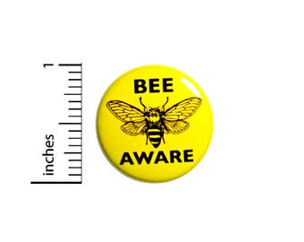 Bee Button Backpack Pin Bee Aware Badge Save The Bees Endangered Disappearing Honey Bees Awareness Backpack Jacket Pin 1 Inch 1 Inch #46-2