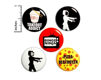 "Binge Watching Buttons or Fridge Magnets // TV Head // Takeout // Backpack Pins // Funny Lapel Pins // Pizza Pins // Gift Set 1"" #P7-3"