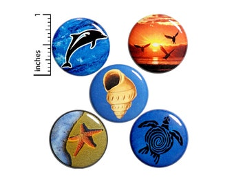 "Beach Buttons 5 Pack Backpack Pins Ocean Dolphin Sea Turtle Lapel Pin Cool Badge Cute Pinback Beach Gift Set 1"" P15-2"