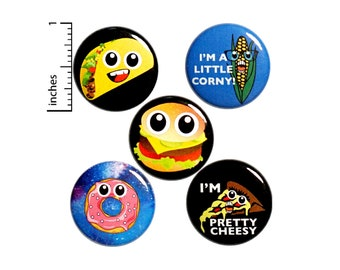 "Silly Food Buttons or Fridge Magnets // 5 Pack // Backpack Pins // Lapel Pins // Tacos // Donuts // Pizza // Burgers // Gift Set - 1"" P14-1"