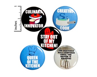 "Cooking Buttons 5 Pack Funny Backpack Pins 1"" P24-5"
