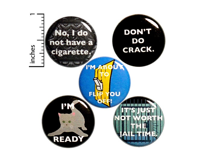 "Featured listing image: Sarcastic Pin for Backpack or Fridge Magnets, Funny Buttons Pins for Jackets, Lapel Pins, Badges, Snarky, Silly, 5 Pack Gift Set 1"" P45-1"