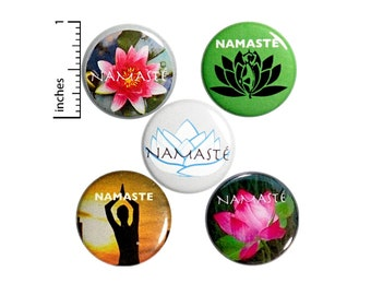 "Namaste Buttons Cute Cool Pin for Backpack or Jackets Lapel Pins Yoga Teacher Yogi 5 Pack Gift Set 1"" P39-5"