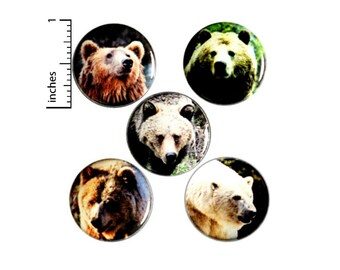 "Bear Buttons or Fridge Magnets // 5 Pack // Cool Nature Pins // Bears // Badges // Backpack Pins // Lapel Pins // Gift Set // 1"" SP2-2"