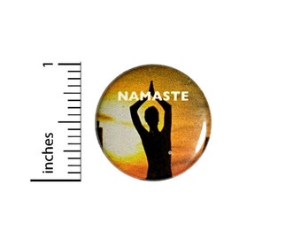 Namaste Sunset Button // Positive Gift // Pinback Backpack or Yoga Bag Pin // 1 Inch 9-28