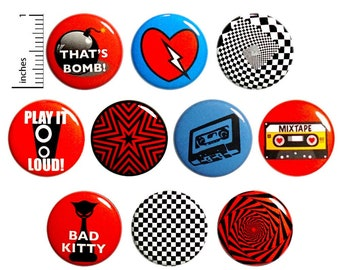 Cool 90's Style (10 Pack) Buttons for Backpacks or Fridge Magnets // Music Punk Ska // Cassette Nostalgia // Gift Set Pins // 1 Inch 10P13-2