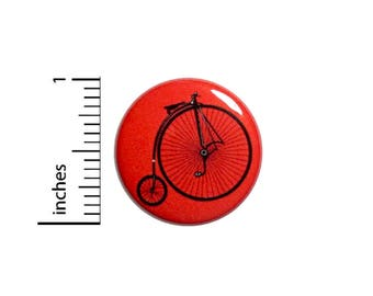 Unicycle Bicycle Button Red Vintage Style Cool Backpack Jacket Pin 1 Inch #39-29