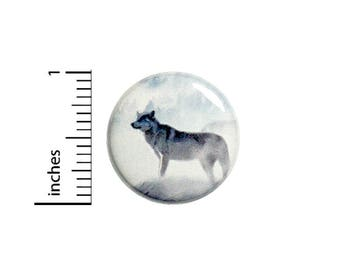 Cool Winter Wolf Button White Grey Button Badge Backpack Jacket Pin 1 Inch #50-7