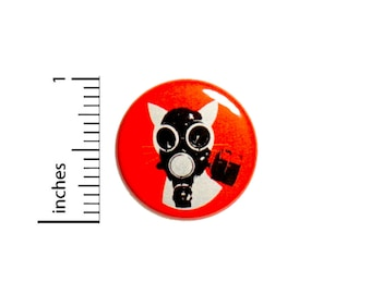 Apocalypse Cat Gas Mask Cool Rad Funny Nerdy Meow Backpack Jacket Pin 1 Inch #37-25